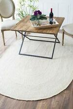 Rug Jute White Braided Oval Area Rag Rug 4x6 Feet Reversible Handmade Carpet