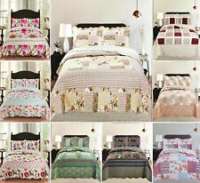 Bedspread Bed Throw Comforter 3 Pcs Printed Patchwork Pillowcase Bedding Set