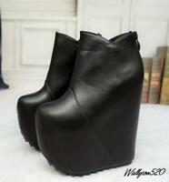 womens super High Wedge Heel shoes platform Zip Nightclub Ankle Boots shoes