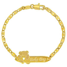 """18k Gold Plated Tag ID Identification Bracelet for Baby Boy Toddler 5.5"""""""
