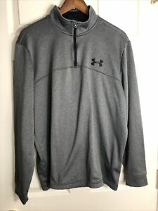 Under Armour Womens Cold Gear Loose Fit 1/4 Zip Fleece Pullover Gray Size XL
