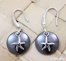 925 Silver Rhodium Hawaiian Starfish Sea Star Black Ceramic Circle Hook Earrings