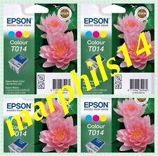 T014 x 4 Genuine EPSON T014 Tri-Colour Ink Cartridges - Original T014 x 4