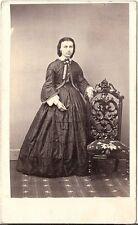 F. Bishop CDV photo Feine Dame mit Briefmarke - Watertown USA 1860er