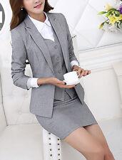 Elegante Tailleur completo donna grigio perla giacca manica lunga gonna 7121