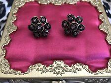 Betsey Johnson Vintage Bronze Rose Flower Floral Pink Crystal Cluster Earrings