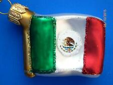 MEXICO MEXICAN EUROPEAN BLOWN GLASS FLAG ORNAMENT CHRISTMAS