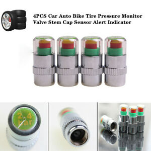 4xCar Auto Bike Tire Pressure Monitor Valve Stem Cap Sensor Alert Indicator Kits