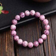 Beads Women Bracelet 10mm Aaaa Natural Lepidolite Tourmaline Pink Clear Round