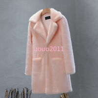 Winter Women's Lapel Collar Loose Warm Fur Coat Trench Jacket Long Outwear Parka