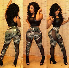 Womens Camo Camouflage Stretch Trousers WO Army Green AU Pants Leggings