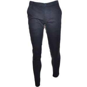 Pantalone Moda Uomo Nero Tasca America Cotone Chino Elastico Colori Vari Slim Ma