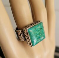 VINTAGE HANDCRAFTED 925 CRUSHED GREEN TURQUOISE RING 13.29GMS  SIZE 6 FROM USA