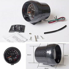 "3.75"" Car Carbon Fiber Pattern RPM Tachometer Gauge Installation Kit Shockproof"