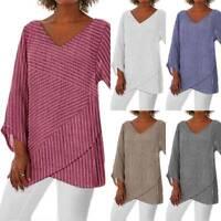 Damen Langarm T-Shirt Bluse V-Ausschnitt Gestreift Baggy Tunika Top Oberteil Neu