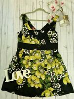 Monsoon Size 16 yellow floral black fit and flare dress fit and flare occasion