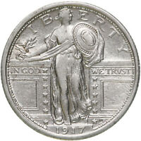 1917 Standing Liberty Quarter Type 1 90% Silver AU Cleaned See Pics D096