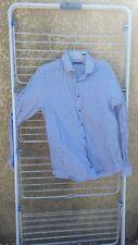 chemise homme à manches longues Pierre CARDIN rayée blanche et bleue 42