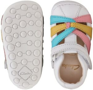 BNIB Clarks Toddler Girls Tiny Mae White Combi Leather Sandals F/G Fitting
