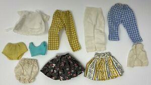 Vintage Lot of 10 Assorted Doll Clothing Tops Skirts Pants Underwear Etc