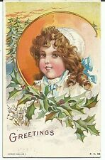 Postcard Girl or Doll Portrait Christmas Greetings Posted 1908