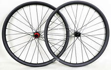 "26"" Carbon MTB Wheel QR 25mm Clincher Beadless Thru Axle UD Matt Rims Mountain"