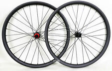 "26"" Carbon MTB Wheel QR 35mm Clincher Beadless Thru Axle UD Matt Rims Mountain"