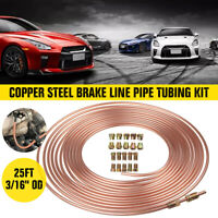 "Roll Steel Copper Brake Line Pipe Tubing Kit 25FT 3/16"" OD with 20 Pcs Fittings"