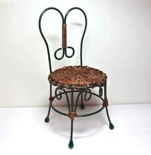 """Green Metal CHAIR Woven Seat 15"""" Tall DOLL Porch Patio"""