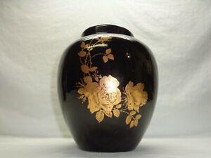 Vtg Ceramic Art Vase Floral Gold Rose Vine Leaf Pattern 1985 Signed Pretty!