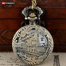 Retro Hollow Train Engine Mens Pocket Watch Gift Quartz Bronze Necklace Pendant