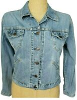 Levi's Vtg 90s Women's Medium Wash Button Front Jean Denim Jacket Size Small
