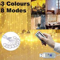 3Mx3M 300LED USB 8 Mode Waterproof Wedding Party Curtain String Fairy Lamp Light