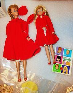 1960s BARBIE& SKIPPER IN ORIGINAL CASE WITH 30 PRE-1967 BLACK LABEL CLOTHING LOT