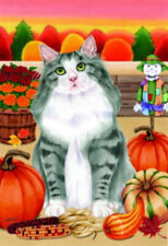 Autumn (Tp) House Flag - Grey Norwegian Forest Cat 62005