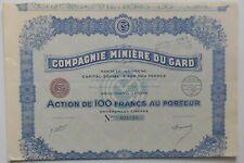 ACTION DE 100 FRANCS, COMPAGNIE MINIÈRE DU GARD, 1930