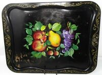 "Vintage - Nashco Hand Painted Tray Fruit Black Large 20.5"" x 16"" Serving Tray"