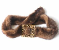 Luxurious Genuine Mink Belt with Stylish Artistic Gold Ornate Square Closure Fur