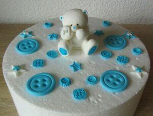 Teddybär Tortendeko Fondant Baby Taufe Geburt Tortenaufleger Geburtstag Party