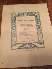 Henry Holden Huss Op. 17 Quartet Preludes En For a D'Etudes Antique 1901