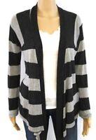 Splendid Women Open Front Cardigan Sweater Small Gray Black Striped Long Sleeve