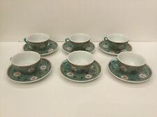 Lot Of 6 Vintage Turquoise Wan Shou Wu Jing Chinese Tea Cup And Saucer