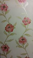 Adele Rojo Crema Floral Característica De Vinilo Con Textura Brillo del oro Wallpaper
