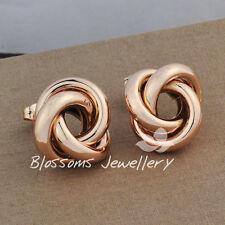 9K 9CT Rose GOLD GF Filled Large Twist Plain STUD EARRINGS Ladies ES301-1L