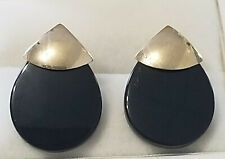 14K Yellow Gold and Black Onyx Stud Earrings