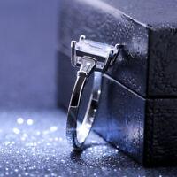 Women 925 Silver Rings Emerald Cut White Sapphire Wedding Ring Size 6-10