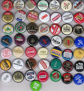 100 used beer bottle caps from Poland