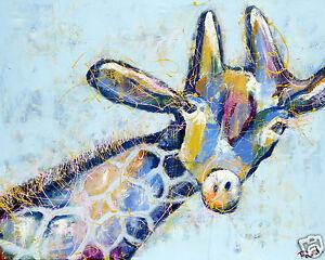 "pop art Giraffe Street print painting abstract not banksy COA  poster 36"" x 24"""