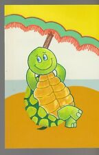 "VALENTINE Cute Cartoon Turtle w/ Beach Umbrella 5x7"" Greeting Card Art #V4299"