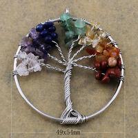 Colgante artesanal árbol de la vida y piedras naturales como amatista, cuarzo